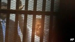 Presiden Mesir Mohammed Morsi di pengadilan darurat di akademi polisi nasional Mesir di Kairo, Mesir, 21 April 2015.