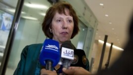 European Union High Representative Catherine Ashton at meeting of EU Foreign Ministers, Luxembourg, Oct. 15, 2012.