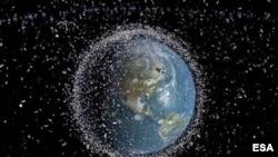 კოსმოსური ნარჩენები დედამიწის ორბიტაზე - ევროპის კოსმოსური სააგენტოს კონცეპტუალური ფოტო