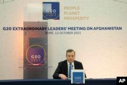 اٹلی کے وزیر اعظم ماریو ڈراگی روم میں جی-20 کانفرنس کی میزبانی کر رہے ہیں۔ 12 اکتوبر 2021