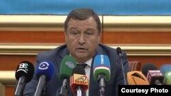 Tojikiston Markaziy saylov va referendum komissiyasi raisi Baxtiyor Xudoyorzoda, Dushanbe, 2-mart, 2020