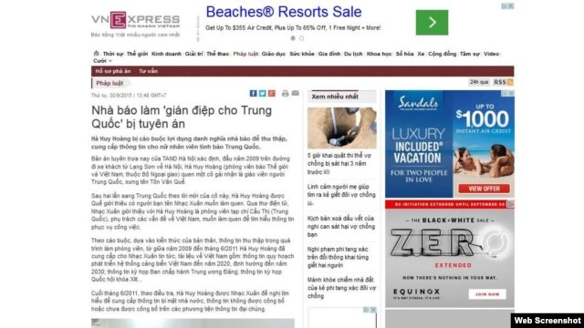Tin 'Nhà báo làm gián điệp' trên VnExpress trước khi bị gỡ xuống.
