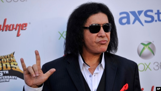 Gene Simmons of Kiss poses at the 2013 Revolver Golden Gods Award Show at Club Nokia on May 2, 2013 in Los Angeles.
