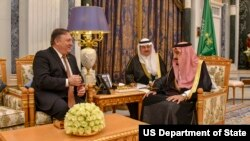 U.S. Secretary of State Michael R. Pompeo meets with Saudi King Salman bin Abdul-Aziz at the Royal Court in Riyadh, Saudi Arabia, Oct. 16, 2018.