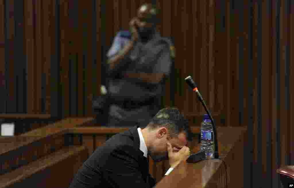 Former Olympic athlete Oscar Pistorius sits in court for the last day of his sentencing hearing in Pretoria, South Africa. The prosecution is calling for at least 10 years in prison for culpable homicide in the shooting death of Pistorius' girlfriend Reeva Steenkamp in February 2013.