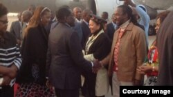 President Robert Mugabe with First Lady Grace Mugabe greeting some cabinet ministers and close relatives recently soon after his arrival from the United Nations General Assembly in New York. Partly obscured (left) is Vice President Joice Mujuru.