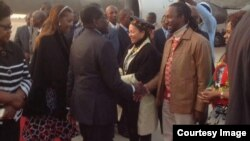 President Robert Mugabe with First Lady Grace Mugabe greeting some cabinet ministers and close relatives recently soon after his arrival from the United Nations General Assembly in New York. Partly obscured (left) is Vice President Joice Mujuru. (File Photo)