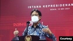 Menkes Budi Gunadi Sadikin dalam telekonferensi pers di Istana Kepresidenan, Jakarta, Senin, 10 Mei 2021 mengatakan varian atau mutasi virus Corona banyak ditemukan di Sumatera dan Kalimantan (biro Setpres).