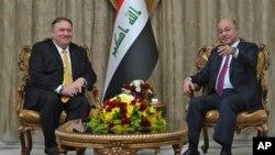 د عراق جمهور رئیس برهم صالح او د امریکا د بهرنیو چارو وزیر مایک پمپیو