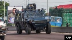 Kinshasa quadrillé par la police le 30 novembre 2017, lors d'une manifestation anti-Kabila.