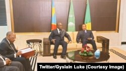 Ba Prezida Dennis Sassou Nguesso na Felix Tshisekedi baganira mu mwiherero i Brazzaville, tariki ya 7/2/2019