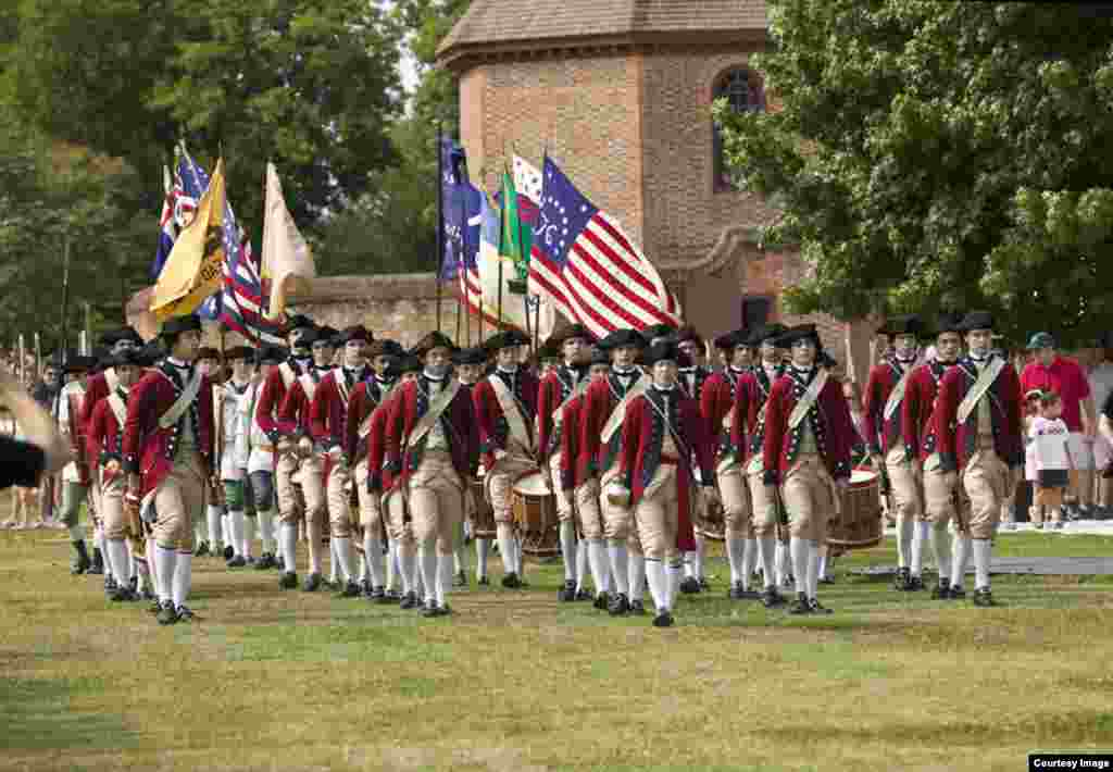 The Fifes and Drums of Colonial Williamsburg in front of the Powder Magazine in Colonial Williamsburg's Historic Area. (Courtesy Colonial Williamsburg Foundation)