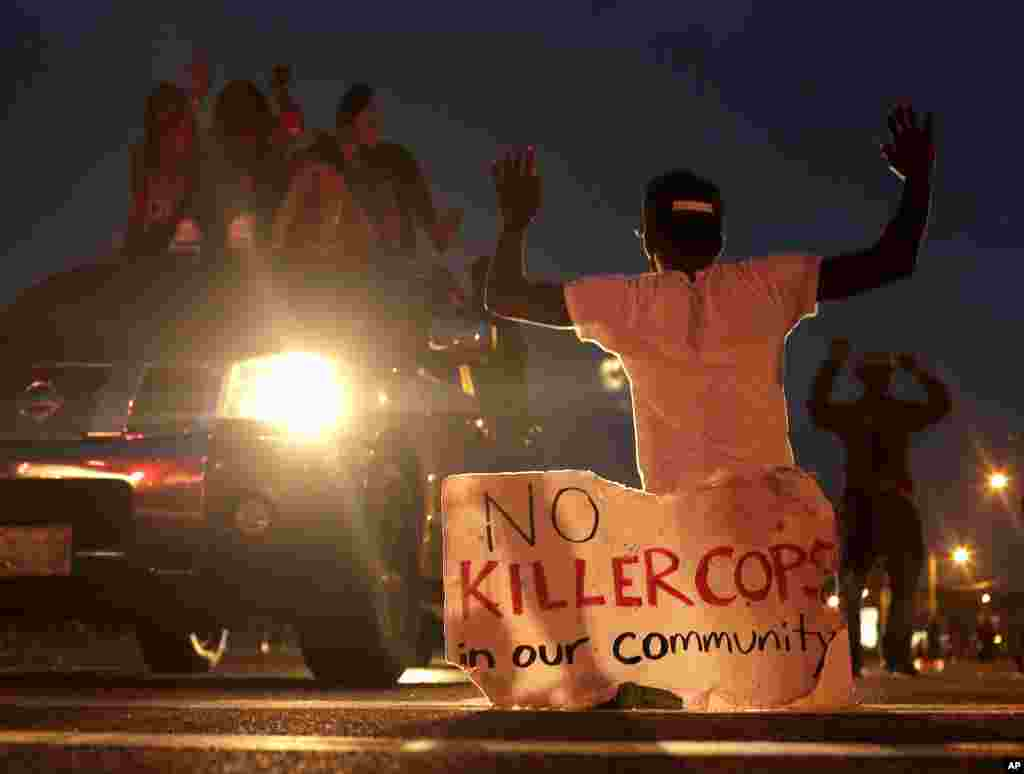 People protest the killing of Michael Brown, Ferguson, Missouri, Aug. 17, 2014.