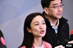 當選的建制派候選人陳凱欣。(美國之音湯惠芸攝)