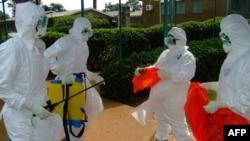 ماموران سازمان بهداشت جهانی با لباس های محافظ به درمان بیماران ایبولایی می پردازند. کامپالا، ۲۸ ژوئیه ۲۰۱۲