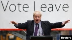"London Mayor Boris Johnson speaks at a ""Out"" campaign event, in favor of Britain leaving the European Union, at Europa Worldwide freight company in Dartford, Britain, March 11, 2016."