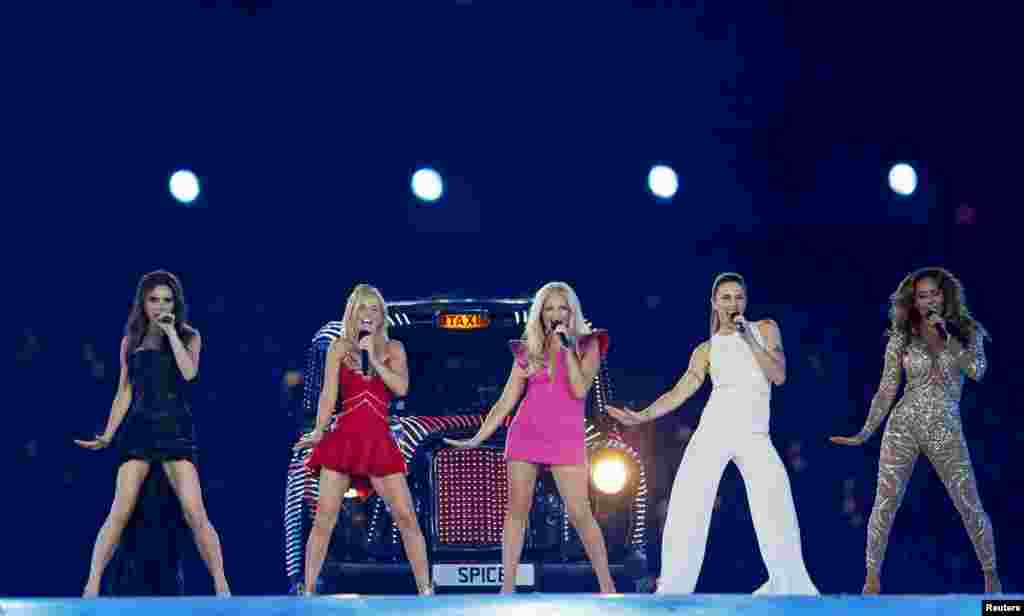 The Spice Girls perform during the closing ceremony of the London 2012 Olympic Games at the Olympic Stadium, August 12, 2012.