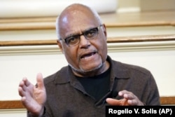 This Wednesday, Feb. 5, 2014 file photo shows Bob Moses, a director of the Mississippi Summer Project and organizer for the Student Non-Violent Coordinating Committee (SNCC) answering questions about Freedom Summer in 1964 during a national youth summit h
