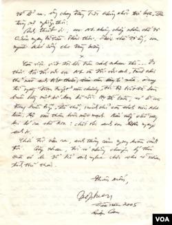 Trang tiếp theo của lá thư nhà văn Võ Phiến gửi tác giả Nguyễn Tường Thiết. (Hình: Tác giả cung cấp)