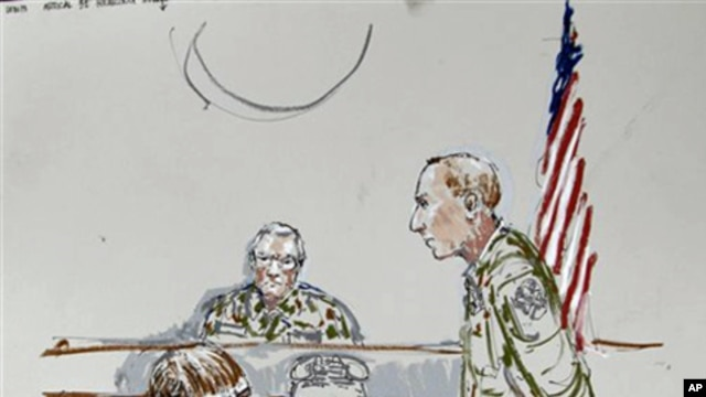 In this courtroom sketch, US Army Cpl. Jeremy Morlock of Alaska, on the left, listens during military trial accusing him of participating in the killings of Afghan civilians, 27 Sept 2010.