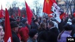 俄共10月革命95周年在莫斯科集会 (美国之音白桦拍摄)