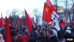 俄共10月革命95週年在莫斯科集會 (美國之音白樺拍攝)
