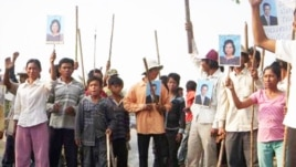 Villagers in Kampong Speu protest against Phnom Penh Sugar Company for land grabbing, file photo.