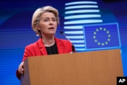European Commission President Ursula von der Leyen speaks during a media conference, after a virtual G-7 meeting on the ongoing crisis in Afghanistan, at the European Council building in Brussels, Aug. 24, 2021.