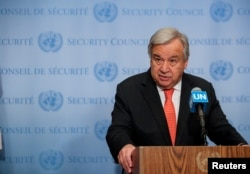 FILE - U.N. Secretary General Antonio Guterres speaks after a Security Council meeting at the United Nations headquarters in New York, Aug. 1, 2019.
