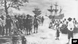 1619'da Virginia'ya getirilen Afrikalı köleler (Resim: Sidney King)