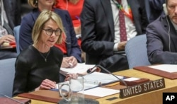 U.S. United Nations Ambassador Kelly Craft address the U.N. Security Council after a failed vote on a humanitarian draft resolution for Syria, Sept. 19, 2019, at U.N. headquarters.