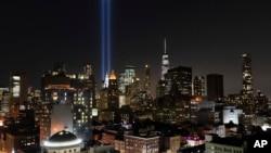 2001年9月11日纽约曼哈顿纪念911恐怖袭击事件18周年。