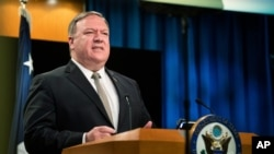 Secretary of State Mike Pompeo speaks during a news conference at the State Department, July 1, 2020, in Washington.