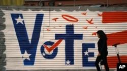 "California ျပည္နယ္ Los Angeles ၿမိဳ႕က နံရံတခုေပၚမွာ ေဆးေရးျခယ္ထားတဲ့ ""vote""။ (ႏိုဝင္ဘာ ၀၂၊ ၂၀၂၀)"