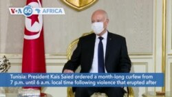 VOA60 Africa - Tunisia: President Kais Saied orders a month-long curfew