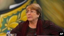 រូបឯកសារ៖ លោកស្រី Michelle Bachelet ស្ថិតនៅក្នុងកិច្ចប្រជុំមួយនៅក្រសួងការបរទេស នៅក្រុងការ៉ាកាស ប្រទេសវេណេស៊ុយអេឡា កាលពីថ្ងៃទី២០ ខែមិថុនា ឆ្នាំ២០១៩។