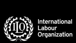 ILO logo, International Labor Organization, graphic element on black