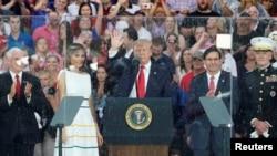 도널드 트럼프 미국 대통령이 지난 4일 워싱턴에서 열린 미국독립기념일 기념식에서 연설했다.