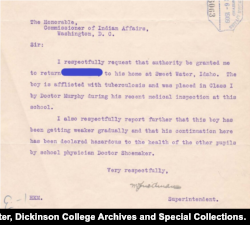 Detail from an April 1909 letter from the Carlisle Indian School superintendent to the Commissioner of Indian Affairs, asking permission to send a student with tuberculosis home to family. Student's name withheld out of respect for family.