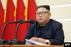 This undated picture released from North Korea's official Korean Central News Agency on Feb. 29, 2020 shows North Korean leader Kim Jong Un attending a meeting of the Political Bureau of the Central Committee.