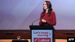 新西蘭總理傑辛達·阿德恩(Jacinda Ardern)在工黨獲勝後的聚會上發表講話。 (2020年10月17日)