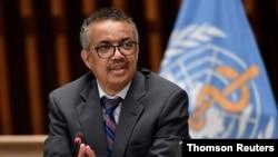 World Health Organization Director-General Tedros Adhanom Ghebreyesus attends a news conference in Geneva, Switzerland July 3, 2020.