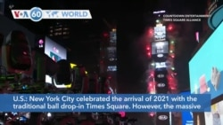 VOA60 World- New York lacks massive crowds for New Year's due to COVID