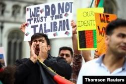 افغانستان پر طالبان کے قبضے کے خلاف لندن میں مظاہرہ۔ 18 اگست 2021