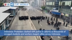 VOA60 Addunyaa - Protesters clashed with police in Jakarta as workers rallied against a new labor rights law