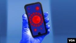 Mobilni telefon sa slikom koronavirusa
