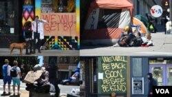 Conjunto de imágenes de personas sin hogar en diferentes calles del centro de San Francisco, California.