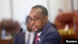 FILE - Somalia's Prime Minister Mohamed Hussein Roble speaks at the parliament in Mogadishu, Somalia, September 23, 2020.