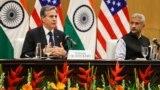 Ngoại trưởng Hoa Kỳ Antony Blinken và Ngoại trưởng Ấn Độ Subrahmanyam Jaishankar tại cuộc họp báo chung ở Jawaharlal Nehru Bhawan (JNB), New Delhi, Ấn Độ, ngày 28/7/2021.