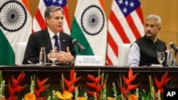 U.S. Secretary of State Antony Blinken, left, speaks as Indian Foreign Minister SubrahmanyamJaishankar listens during a joint news conference at Jawaharlal Nehru Bhawan (JNB) in New Delhi, India, July 28, 2021.